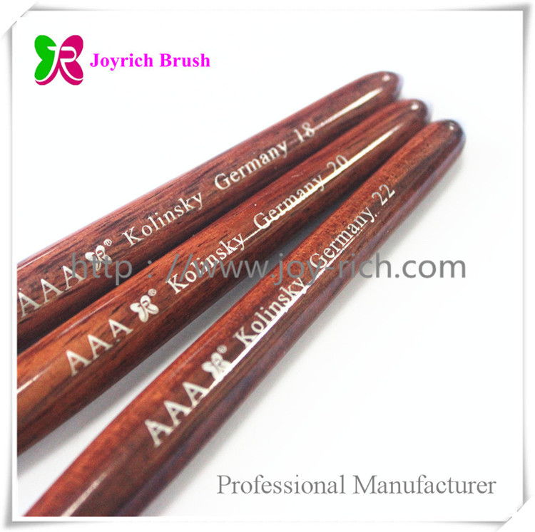 JRA3-Pure kolinsky hair red wooden handle acrylic nail brush