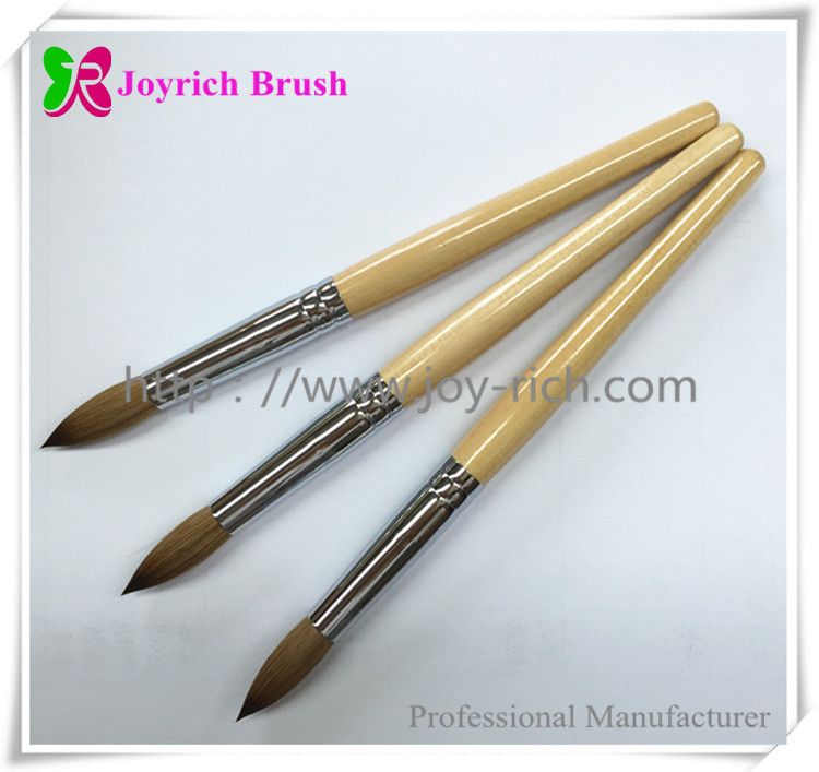 JRA2-Natrual wood handle with kolinsky hair acrylic nail brush
