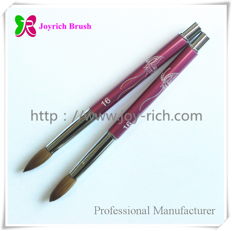 JRA19--Pink metal handle kolinsky hair acrylic nail brush