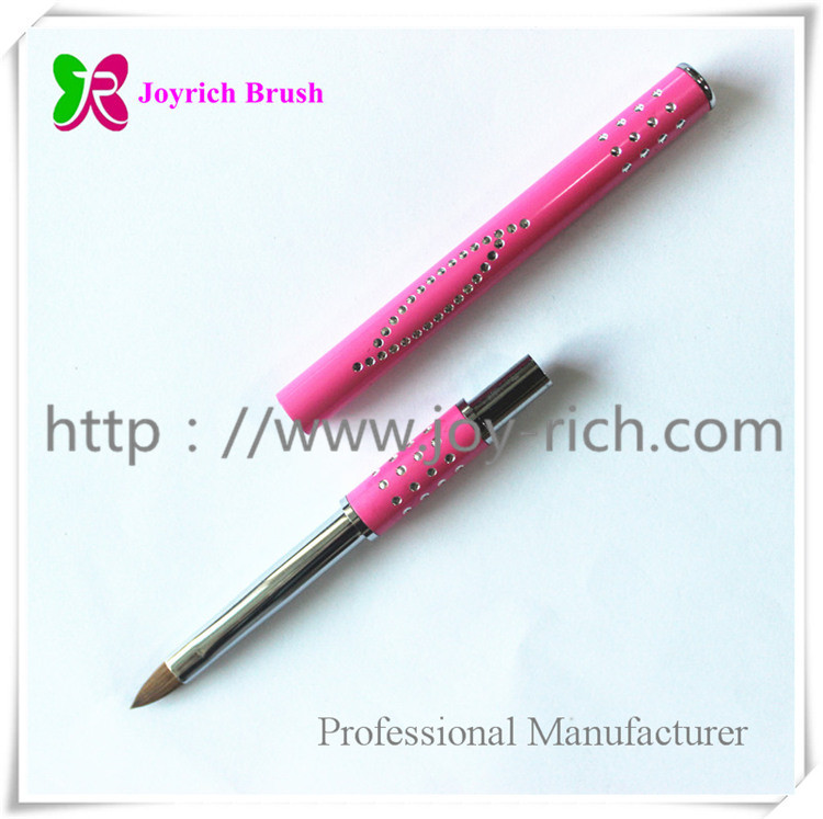 JRS5--Pink metal handle kolinsky hair 3D nail brush