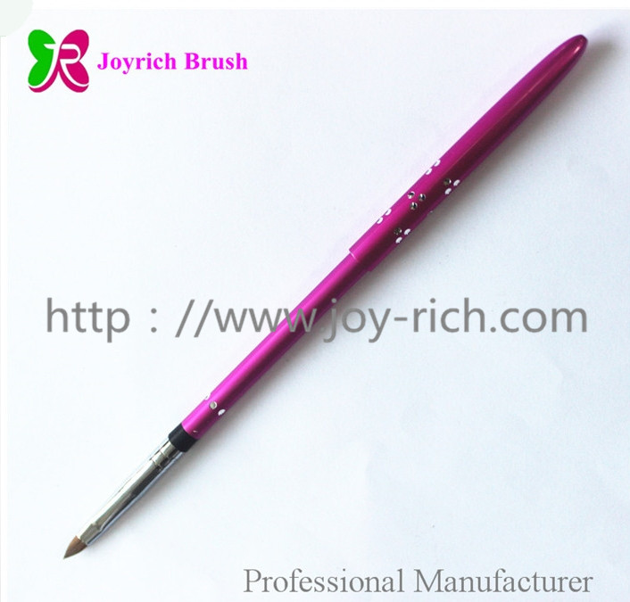 JRS6--Purple metal handle kolinsky hair 3D nail brush