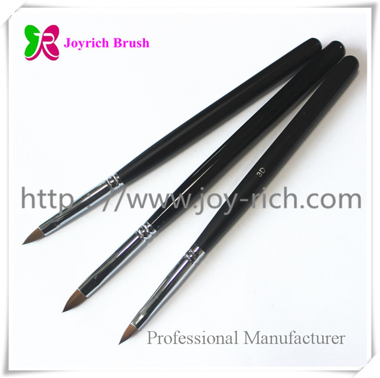 JRS4--Black wooden handle kolinsky hair 3D nail brush